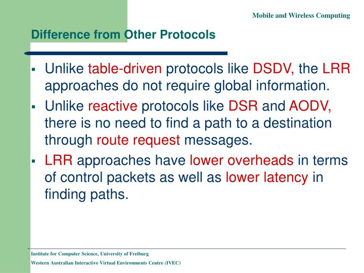 Difference from Other Protocols