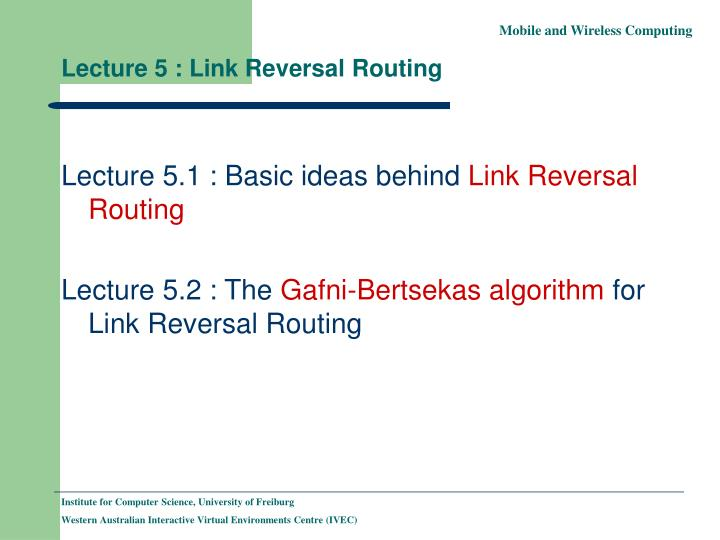 Lecture 5 link reversal routing
