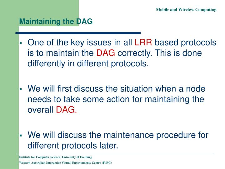Maintaining the DAG