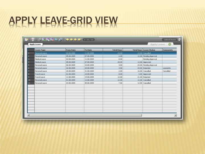 Apply Leave-Grid View