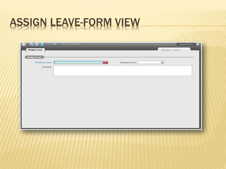 Assign Leave-Form View