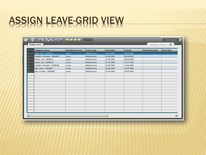 Assign Leave-Grid View