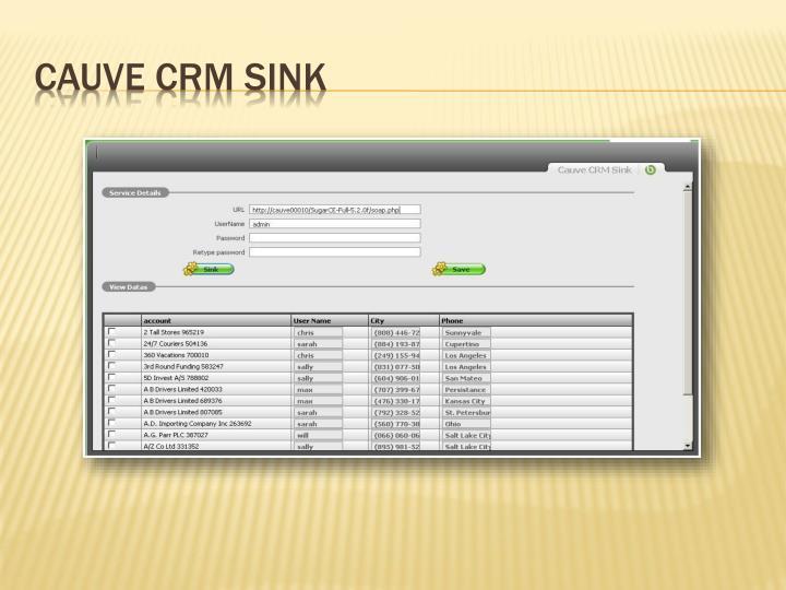 Cauve CRM Sink