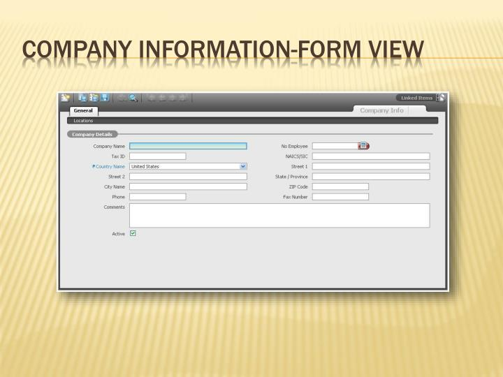 Company information form view