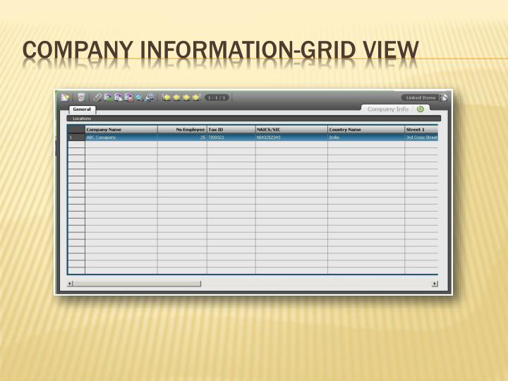 Company information grid view