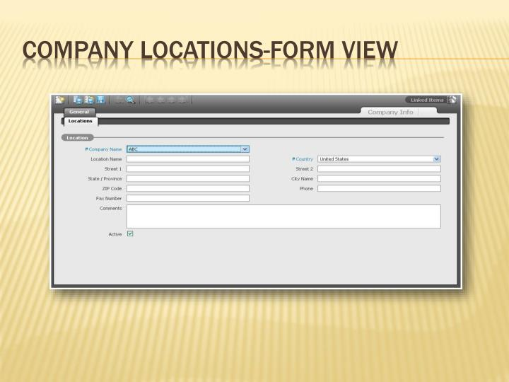 Company Locations-Form View