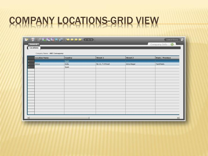 Company Locations-Grid View