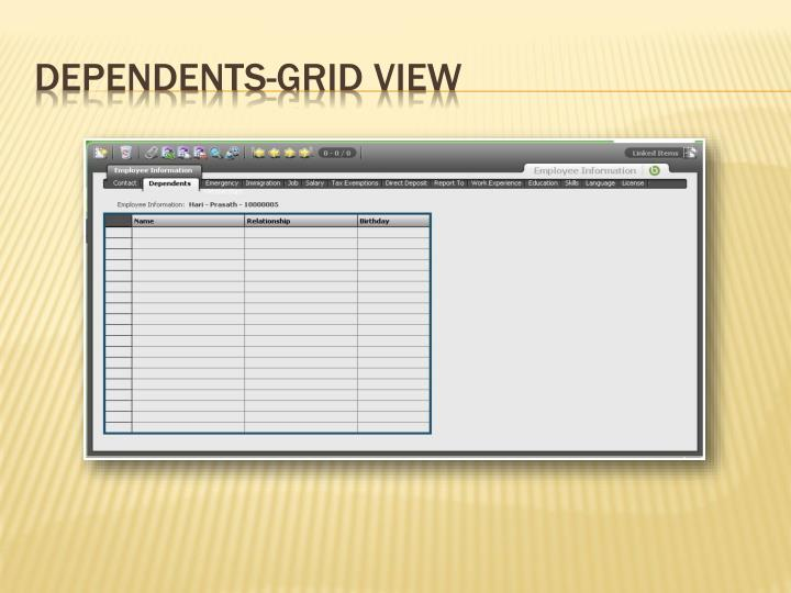Dependents-Grid View