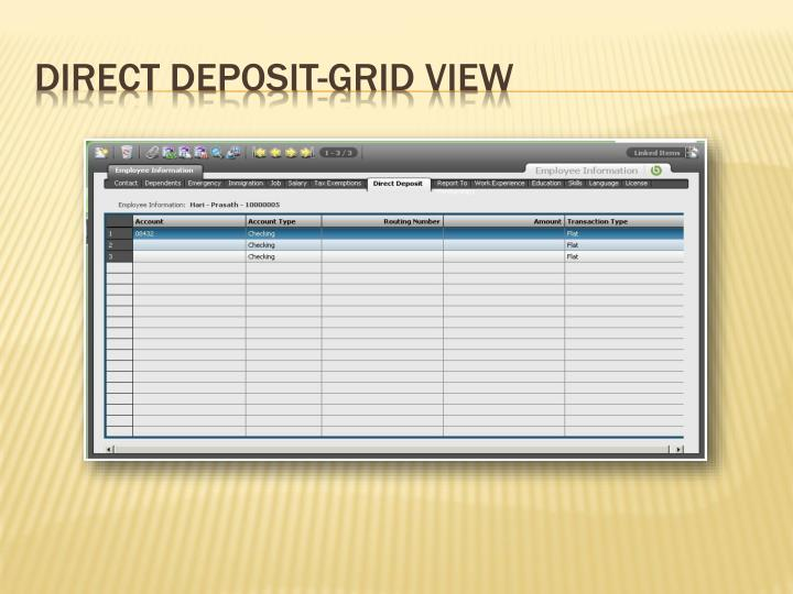 Direct Deposit-Grid View
