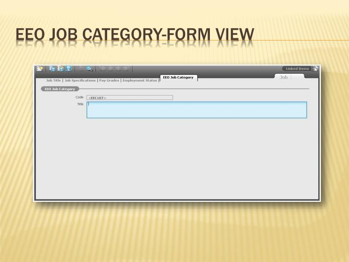 EEO Job Category-Form View