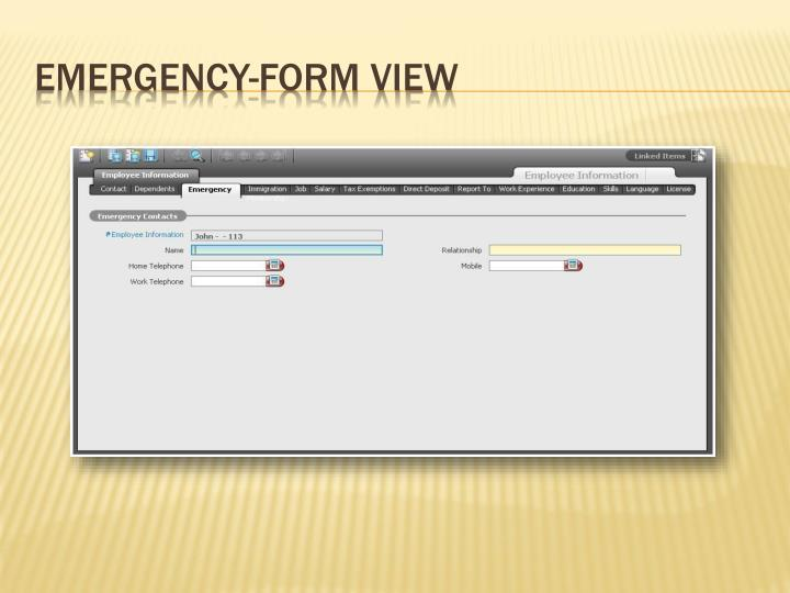 Emergency-Form View