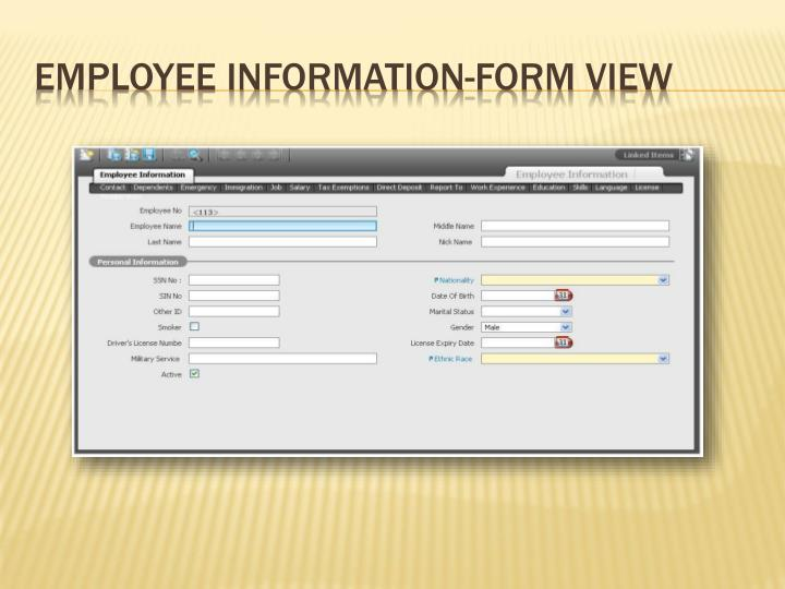Employee Information-Form View
