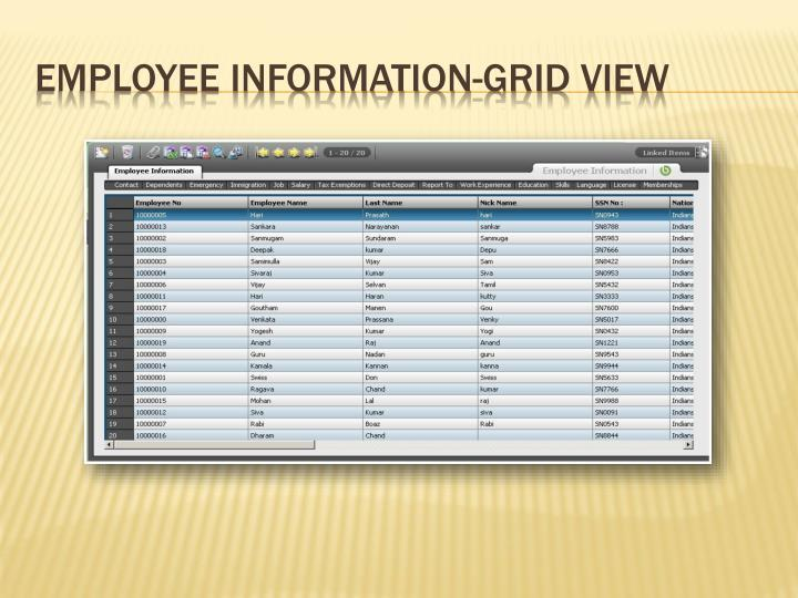 Employee Information-Grid View