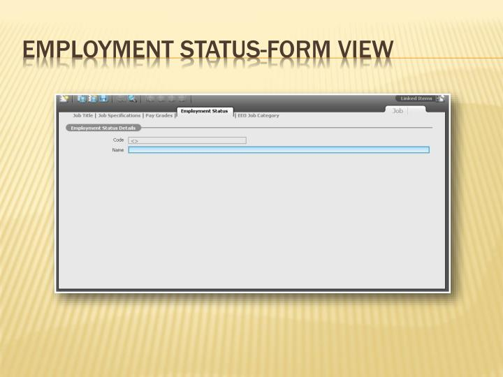 Employment Status-Form View