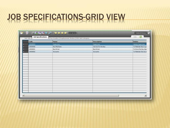 Job Specifications-Grid View