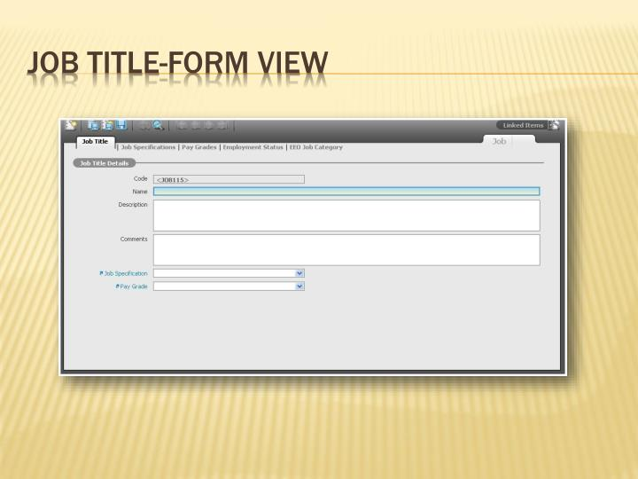 Job Title-Form View