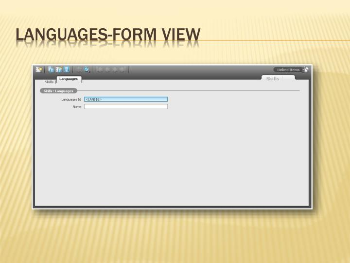 Languages-Form View