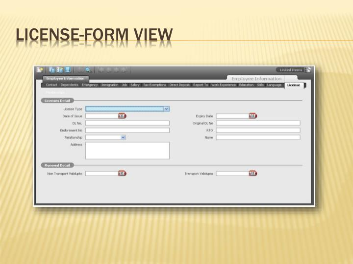 License-Form View