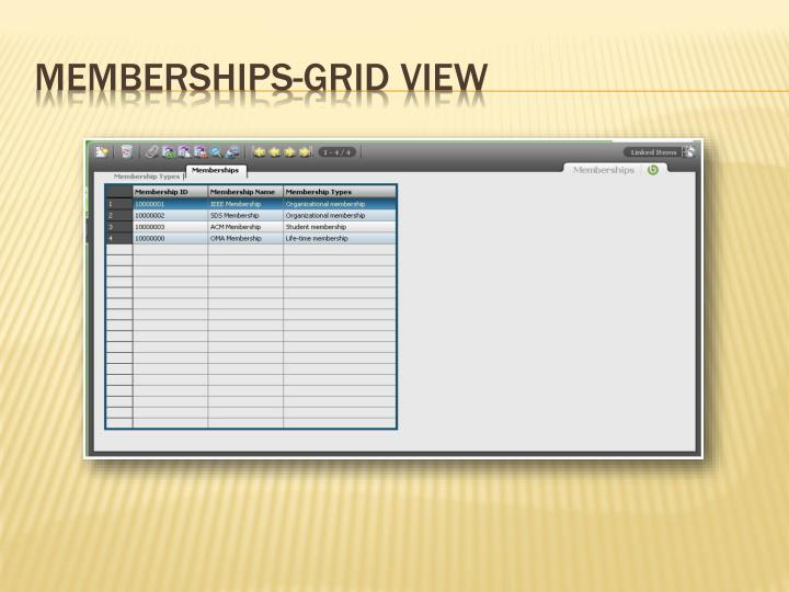 Memberships-Grid View