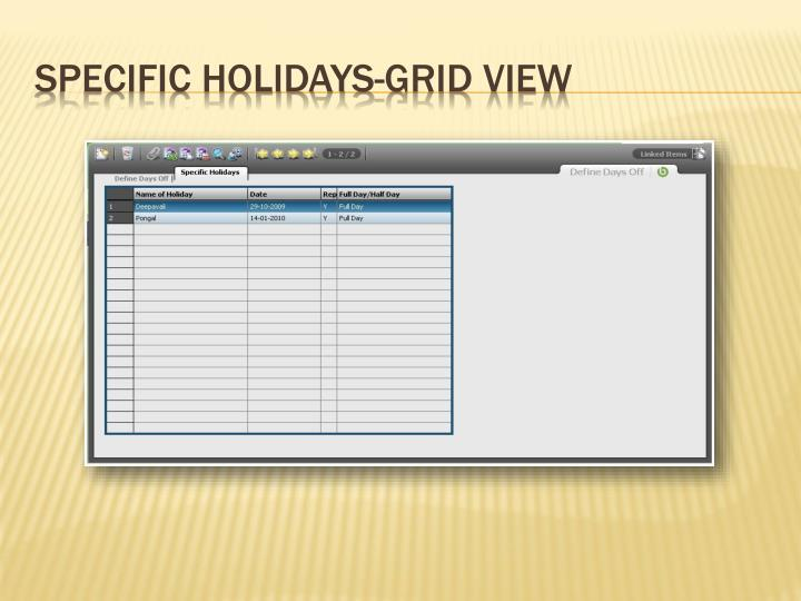 Specific Holidays-Grid View