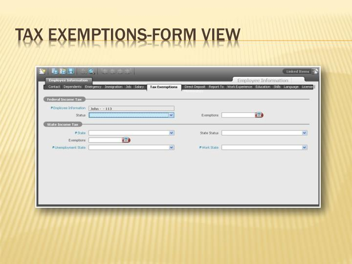 Tax Exemptions-Form View