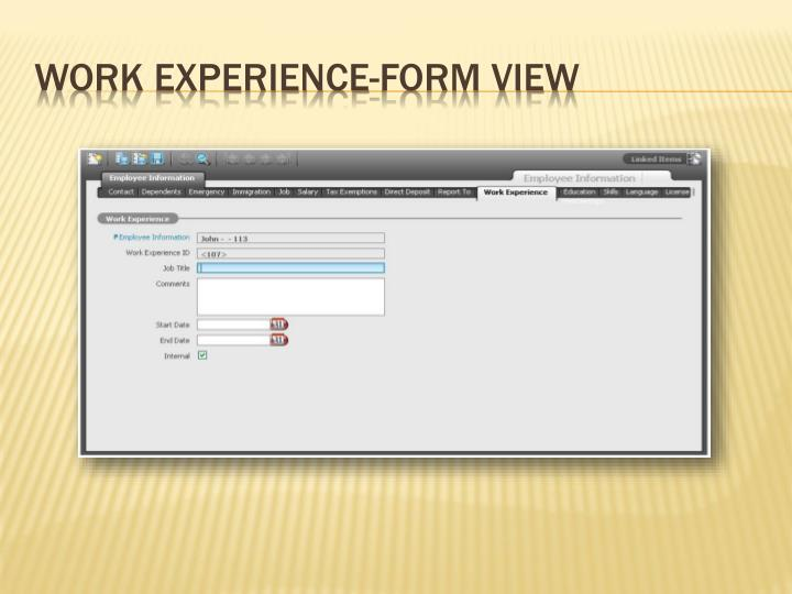 Work Experience-Form View