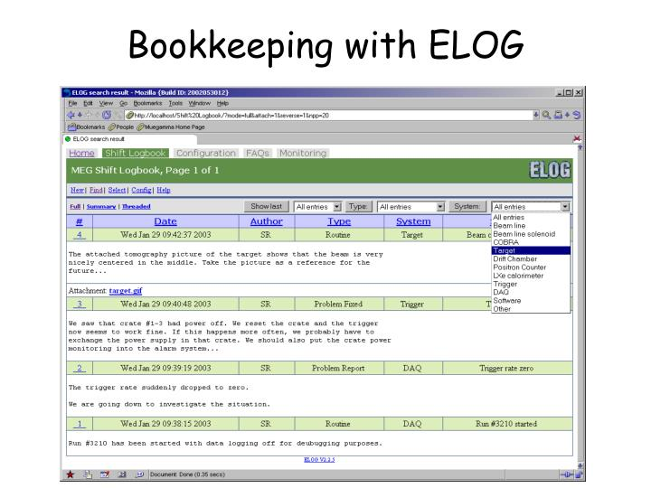 Bookkeeping with ELOG