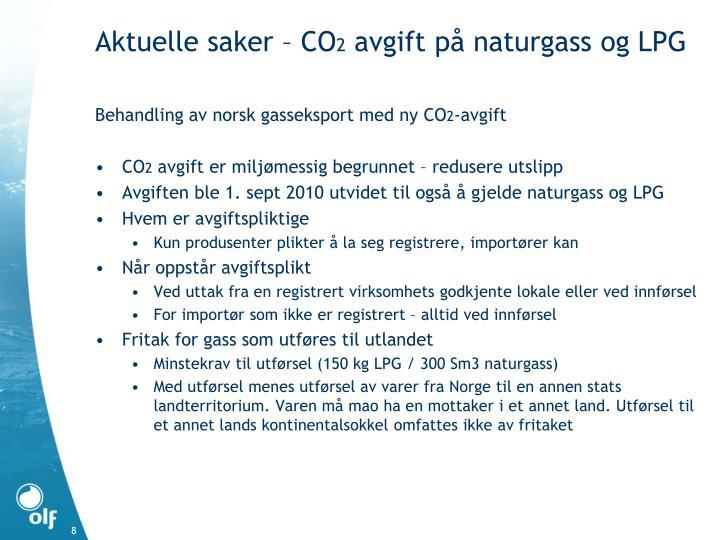 Behandling av norsk gasseksport med ny CO