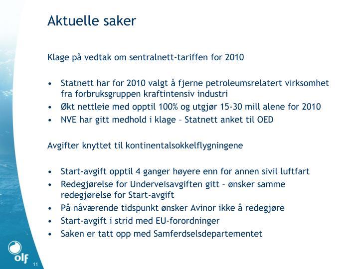 Klage på vedtak om sentralnett-tariffen for 2010