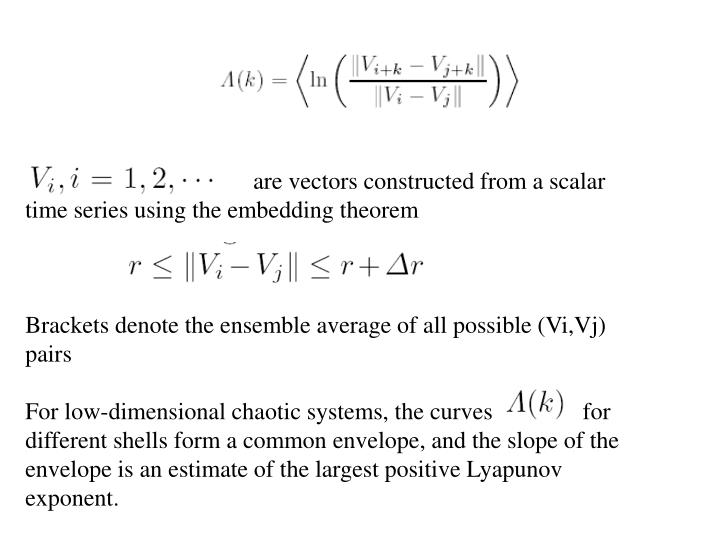 are vectors constructed from a scalar time series using the embedding theorem