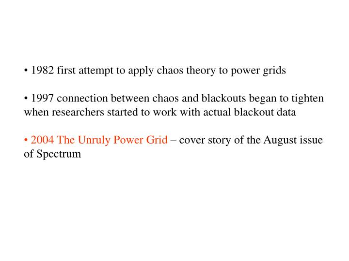 1982 first attempt to apply chaos theory to power grids