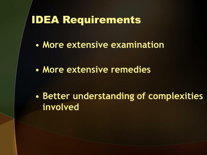 Idea requirements