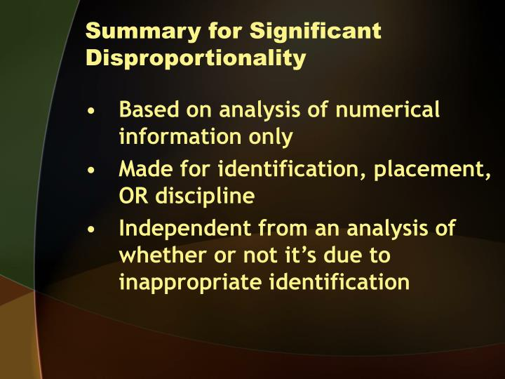 Summary for Significant Disproportionality