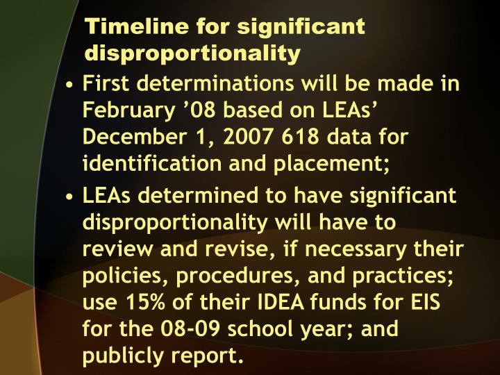 Timeline for significant disproportionality