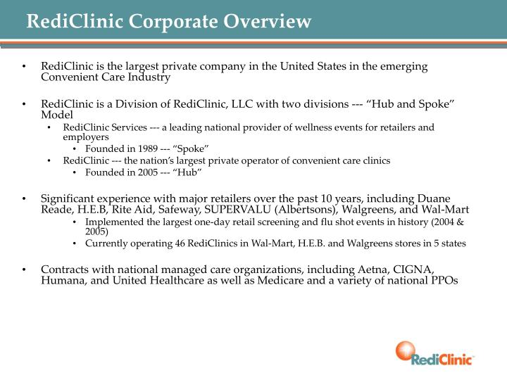 RediClinic Corporate Overview