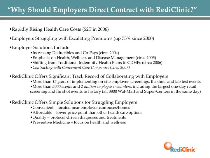 """Why Should Employers Direct Contract with RediClinic?"""