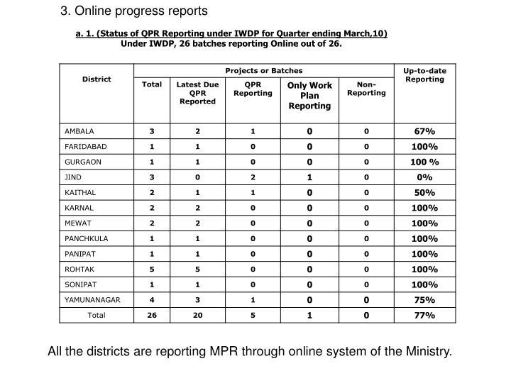 3. Online progress reports