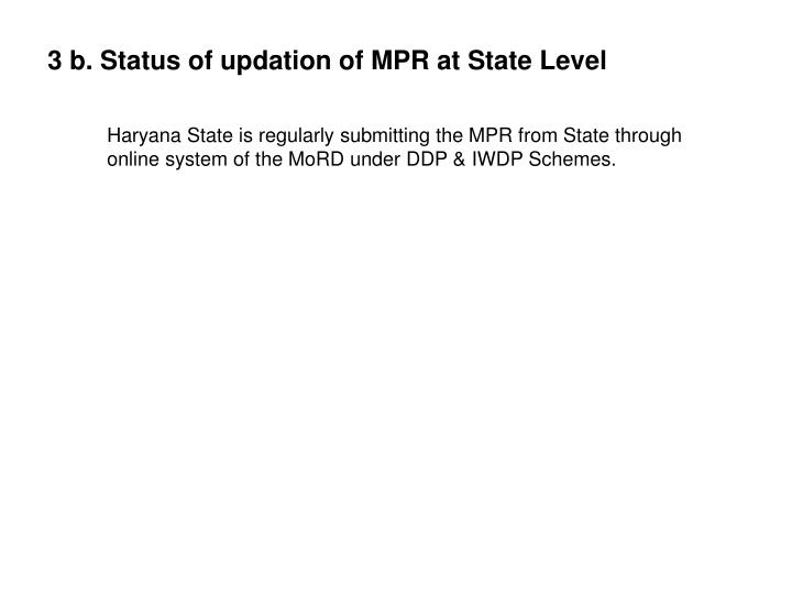 3 b. Status of updation of MPR at State Level