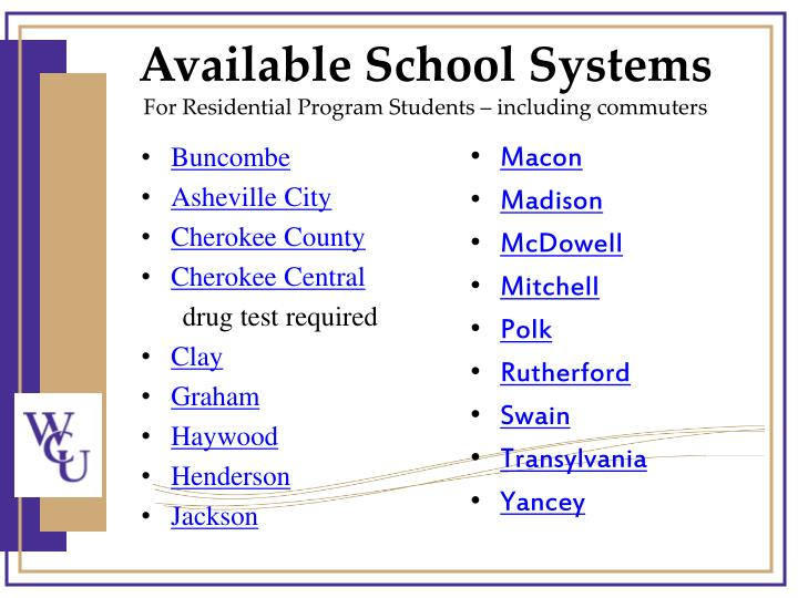 Available School Systems