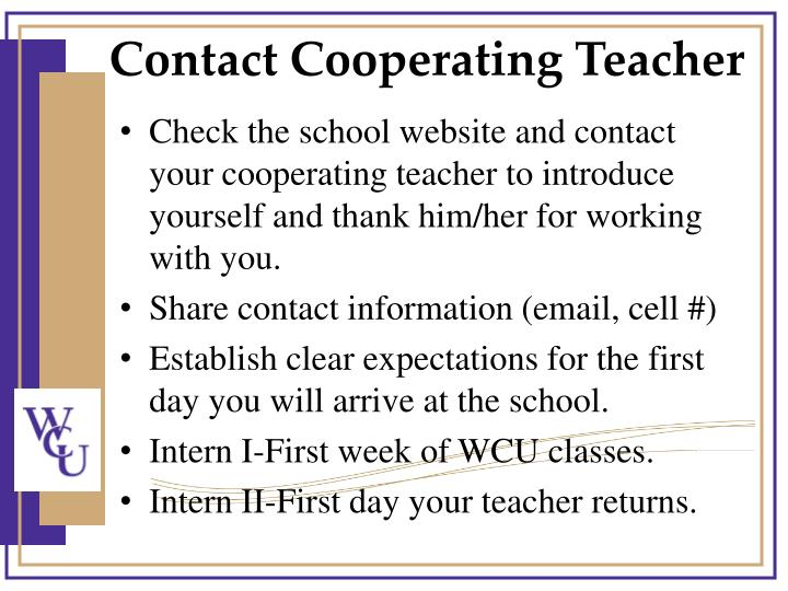 Contact Cooperating Teacher