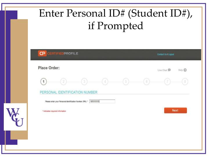 Enter Personal ID# (Student ID#),