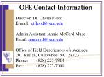 ofe contact information