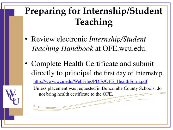 Preparing for Internship/Student Teaching