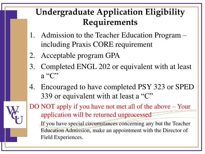 Undergraduate Application Eligibility Requirements