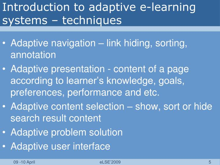 Introduction to adaptive e-learning systems – techniques