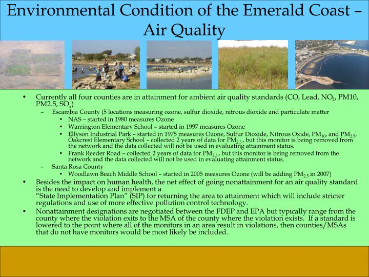 Environmental condition of the emerald coast air quality