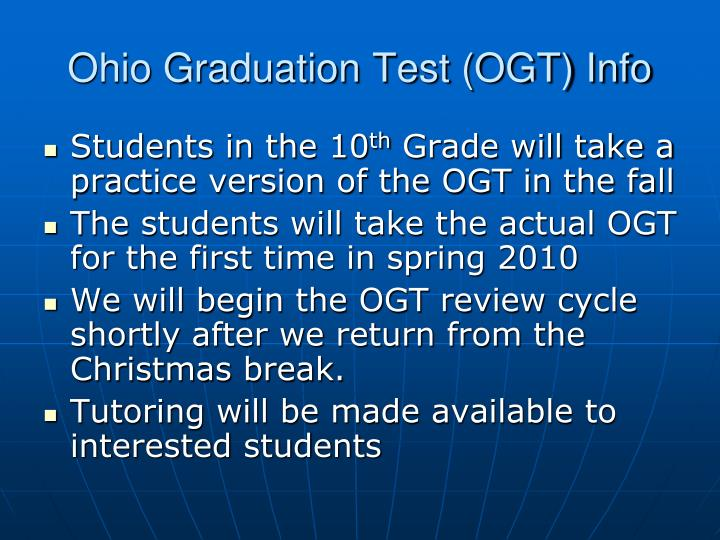 Ohio Graduation Test (OGT) Info