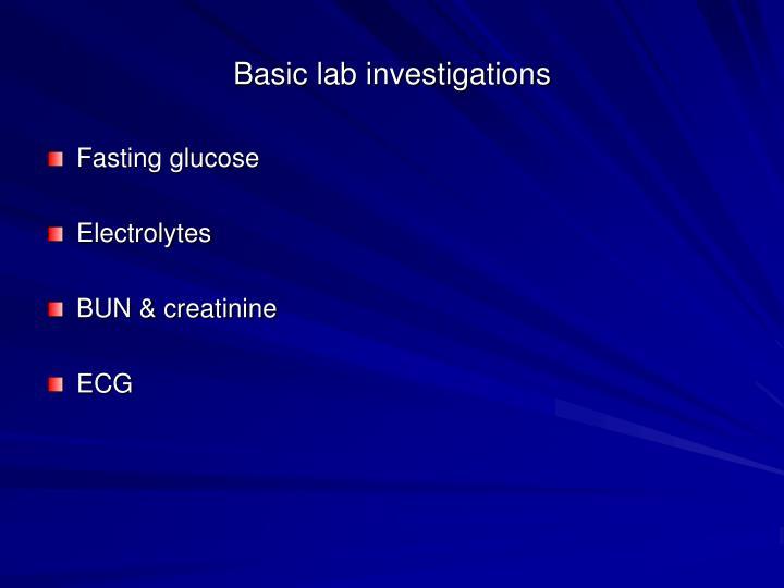 Basic lab investigations