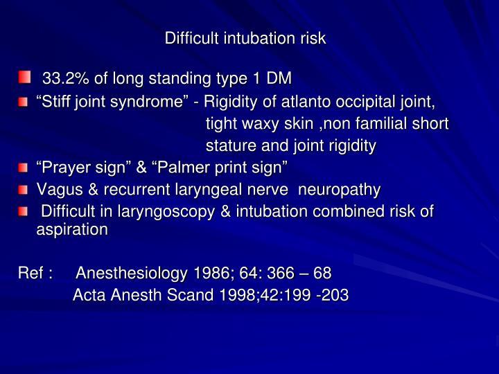 Difficult intubation risk