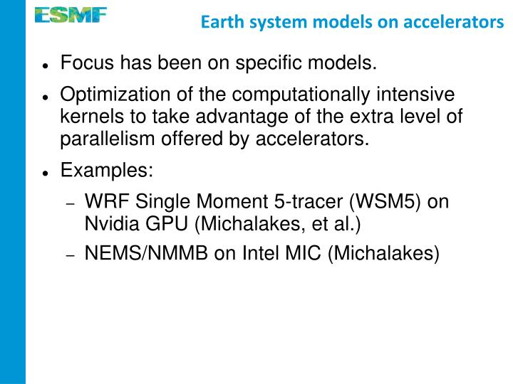 Earth system models on accelerators